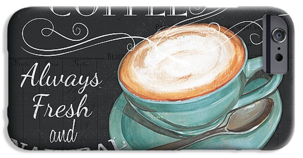 Graphic Design Paintings iPhone Cases - Retro Coffee 1 iPhone Case by Debbie DeWitt