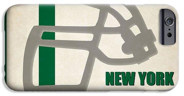 New York Jets iPhone Cases - Retro Jets Art iPhone Case by Joe Hamilton