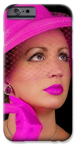 Netting Mixed Media iPhone Cases - Retro Lady in Fuchsia iPhone Case by Trudy Wilkerson