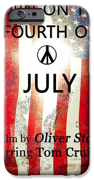 Oliver Stone iPhone Cases - Retro movie poster 4th of July iPhone Case by David Lee Thompson