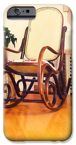 Furniture iPhone Cases - Retro Rocker Wooden Swing Chair On Wood Floor As A Vintage Memor iPhone Case by Jozef Klopacka
