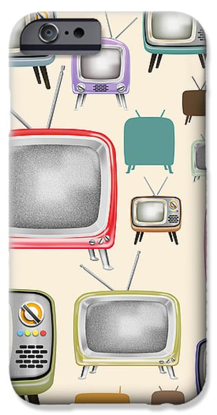 retro TV pattern  iPhone Case by Setsiri Silapasuwanchai