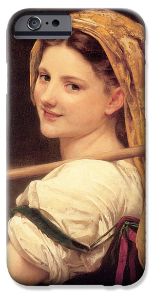 Young Digital Art iPhone Cases - Return From The Market iPhone Case by William Bouguereau