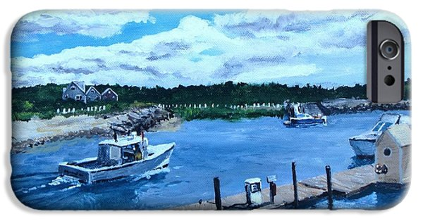 Jack Skinner Paintings iPhone Cases - Returning to Sesuit Harbor iPhone Case by Jack Skinner