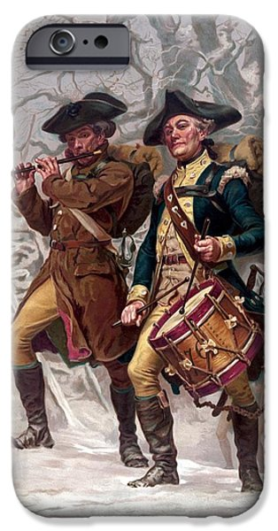 American Revolution iPhone Cases - Revolutionary War Soldiers Marching iPhone Case by War Is Hell Store