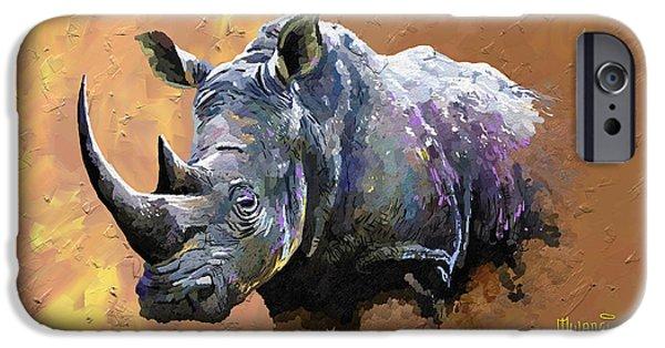 One Horned Rhino Paintings iPhone Cases - Rhino iPhone Case by Anthony Mwangi