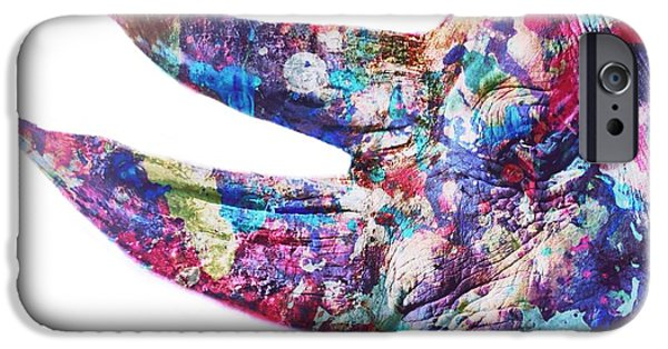 Zoological Paintings iPhone Cases - Rhino iPhone Case by Mark Taylor