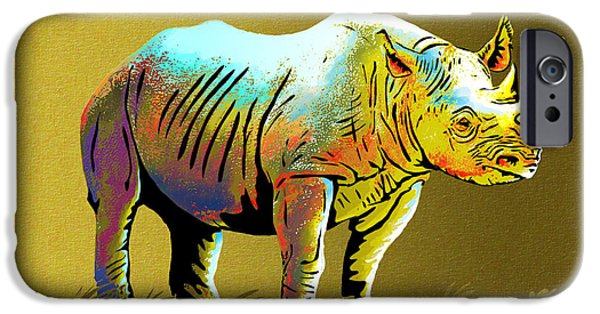 One Horned Rhino Paintings iPhone Cases - Rhinoceros iPhone Case by Anthony Mwangi