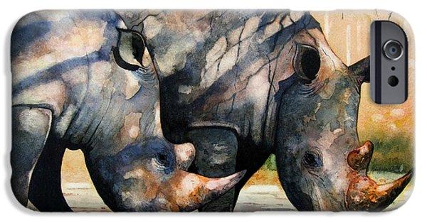 Rhino iPhone Cases - Rhinos in dappled shade. iPhone Case by Paul Dene Marlor