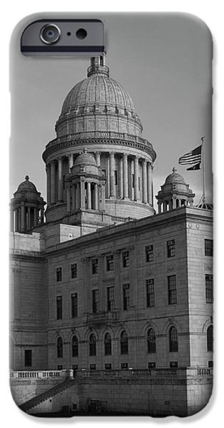 Politician iPhone Cases - Rhode Island State House I BW iPhone Case by David Gordon