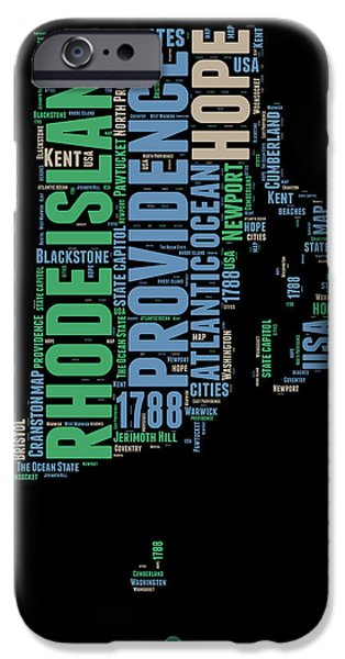 4th July Mixed Media iPhone Cases - Rhode Island Word Cloud 2 iPhone Case by Naxart Studio
