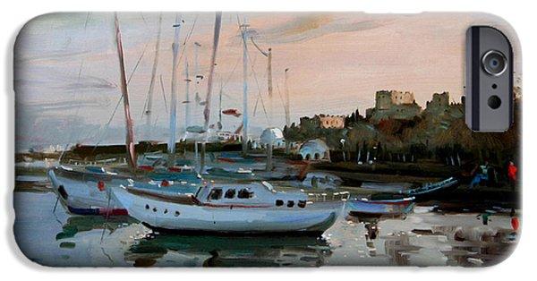 Mandraki iPhone Cases - Rhodes Mandraki Harbour iPhone Case by Ylli Haruni