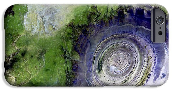 2000s iPhone Cases - Richat Structure, Satellite Image iPhone Case by Nasa