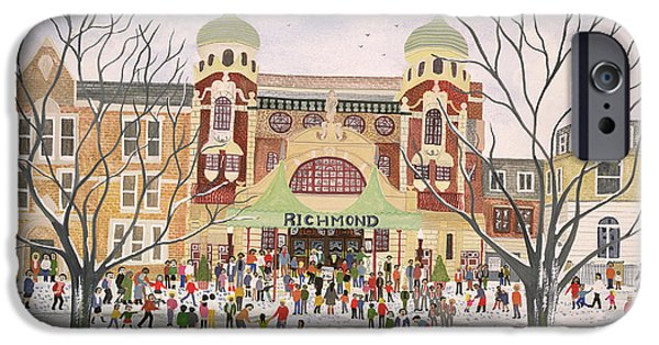 Snowy Drawings iPhone Cases - Richmond Theatre   Surrey iPhone Case by Judy Joel