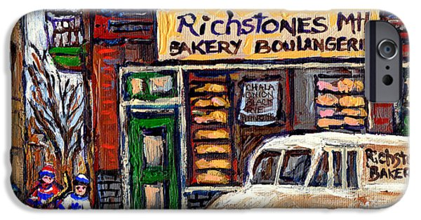 Hockey Paintings iPhone Cases - Richstone Bakery And Street Hockey Montreal Memories Painting Jewish Stores And Streets In Montreall iPhone Case by Carole Spandau