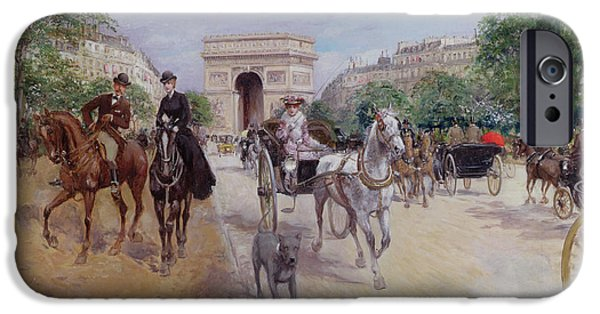 Dog Running. iPhone Cases - Riders and Carriages on the Avenue du Bois iPhone Case by Georges Stein
