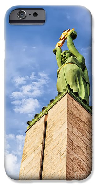 Star Alliance Photographs iPhone Cases - Riga Freedom Monument looking up iPhone Case by Antony McAulay