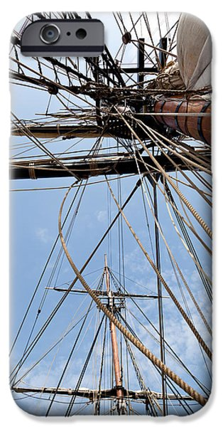 Tall Ship iPhone Cases - Rigging Aboard the HMS Bounty iPhone Case by Michelle Wiarda
