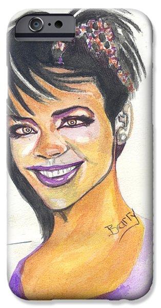 Rihanna Paintings iPhone Cases - Rihanna iPhone Case by Emmanuel Baliyanga