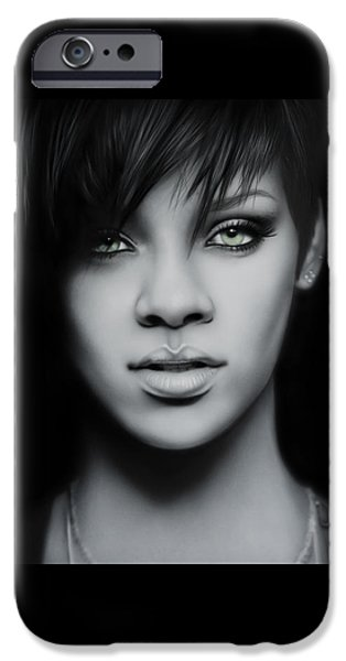 Airbrush Drawings iPhone Cases - Rihanna Portrait iPhone Case by Immer mehr