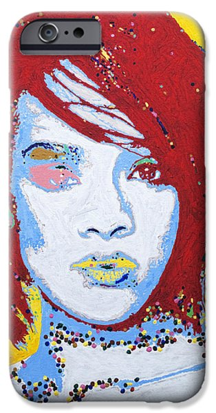 Jay Z Paintings iPhone Cases - Rihanna  iPhone Case by Stormm Bradshaw