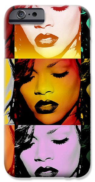 Rihanna Warhol by GBS iPhone Case by Anibal Diaz
