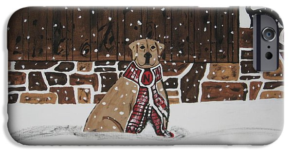 Red Barn In Winter Paintings iPhone Cases - Ring The Dinner Bell iPhone Case by Jeffrey Koss