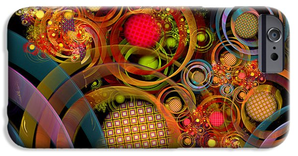 Fractal Orbs iPhone Cases - Rings Around the Bubbles iPhone Case by Peggi Wolfe