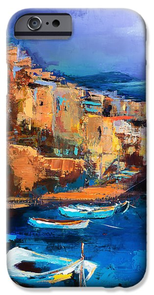Abstract Seascape iPhone Cases - Riomaggiore - Cinque Terre iPhone Case by Elise Palmigiani