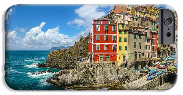 Boat iPhone Cases - Riomaggiore fisherman village in Cinque Terre, Liguria, Italy iPhone Case by JR Photography