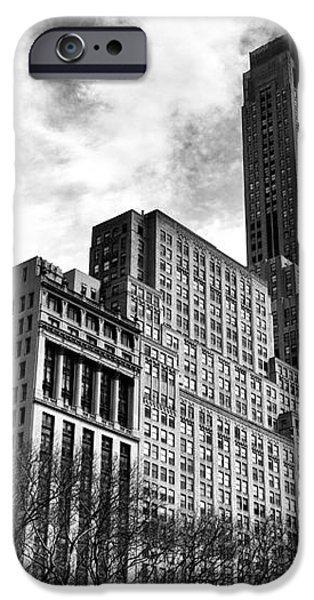 Rising in Manhattan mono iPhone Case by John Rizzuto