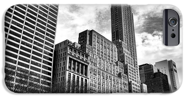 Bryant Photographs iPhone Cases - Rising in Manhattan mono iPhone Case by John Rizzuto