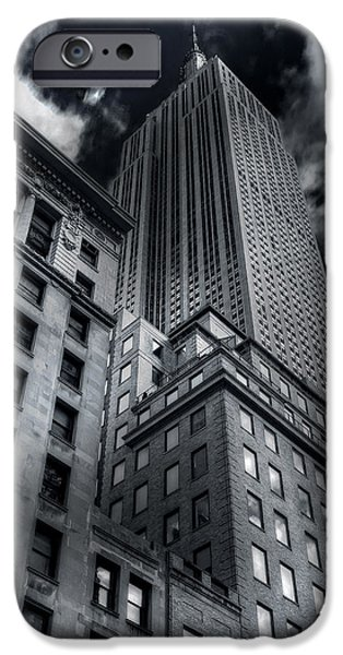 Empire State iPhone Cases - Rising Into Darkness iPhone Case by Mike  Deutsch