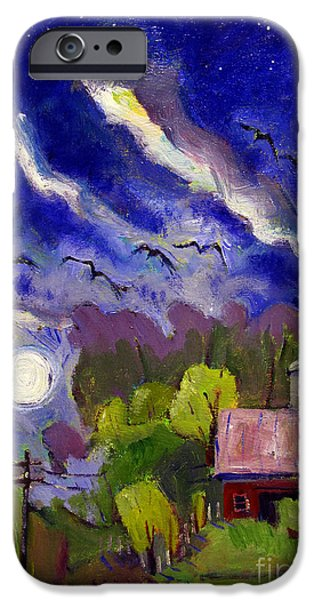 Mango Paintings iPhone Cases - Rising Moon on Walnut Ridge iPhone Case by Charlie Spear