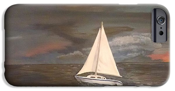Sailboats iPhone Cases - Rising Storm iPhone Case by Thomas Breckenridge