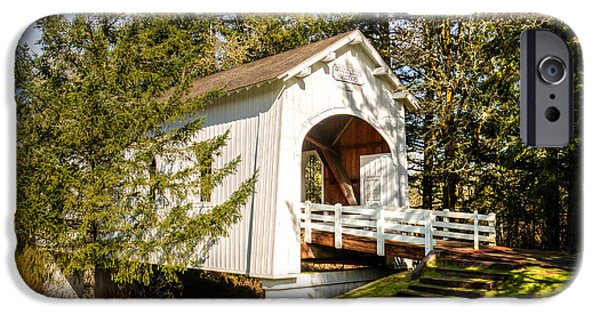 Creek iPhone Cases - Ritner Creek Covered Bridge iPhone Case by Kristina Rinell