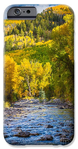 Autumn iPhone Cases - River and Aspens iPhone Case by Inge Johnsson