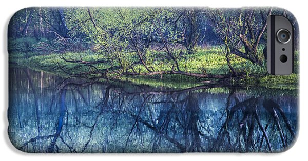 Mist iPhone Cases - River Blues iPhone Case by Debra and Dave Vanderlaan