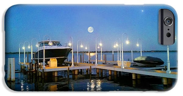 Night Lamp iPhone Cases - River Boat Dock iPhone Case by Michael Rucker