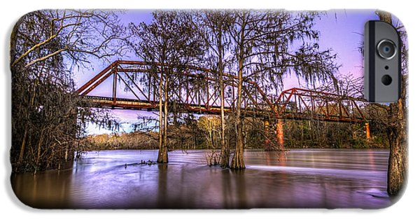 Country Dirt Roads iPhone Cases - River Bridge iPhone Case by Marvin Spates