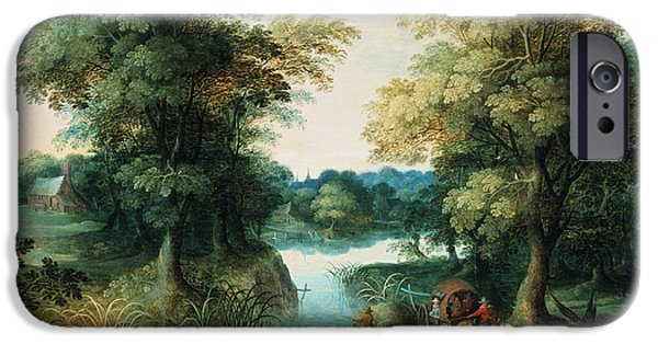 Recently Sold -  - River iPhone Cases - River Landscape iPhone Case by Pieter the Elder Bruegel