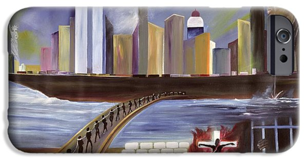 Twin Towers iPhone Cases - River of Babylon  iPhone Case by Ikahl Beckford