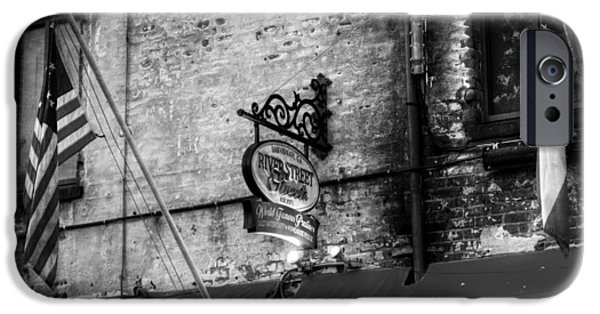 River iPhone Cases - River Street Sweets Sign in Black and White iPhone Case by Chrystal Mimbs