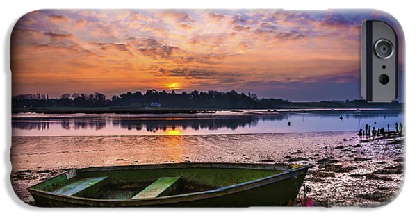 Boat iPhone Cases - River Sunrise iPhone Case by Svetlana Sewell