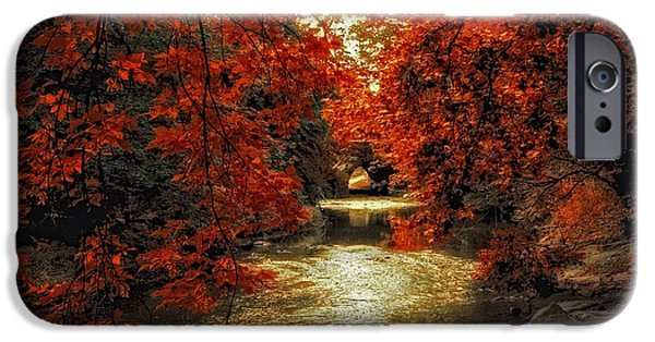 Autumn Digital iPhone Cases - Riverbank Red iPhone Case by Jessica Jenney