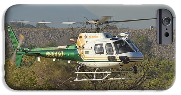 Law Enforcement iPhone Cases - Riverside County Sheriff Air Support 2 iPhone Case by Tommy Anderson