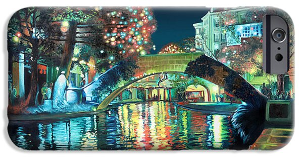 Xmas Paintings iPhone Cases - Riverwalk iPhone Case by Baron Dixon