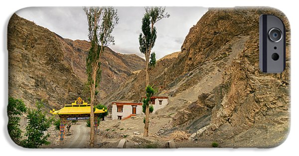 Tibetan Buddhism iPhone Cases - Rizong monastery with view of Himalayan mountians Leh Ladakh Jammu and Kashmir India iPhone Case by Rudra Narayan  Mitra