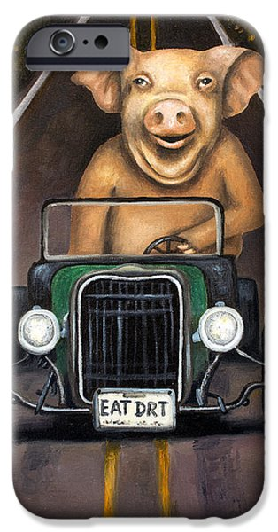 Drag iPhone Cases - Road Hog iPhone Case by Leah Saulnier The Painting Maniac