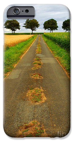 Crops iPhone Cases - Road in rural France iPhone Case by Elena Elisseeva